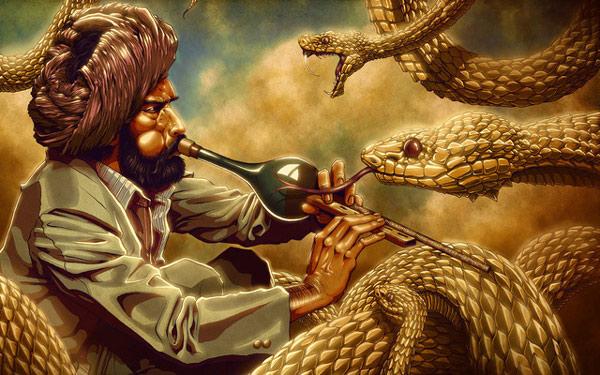 Màn ảo thuật kết hợp giữa rắn và kèn pungi