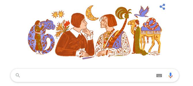 """Hình ảnh Doodle trên trang chủ ngày 7/2 nhằm kỷ niệm bài thơ trữ tình """"Mein blaues Klavier"""" của Else Lasker-Schüler"""
