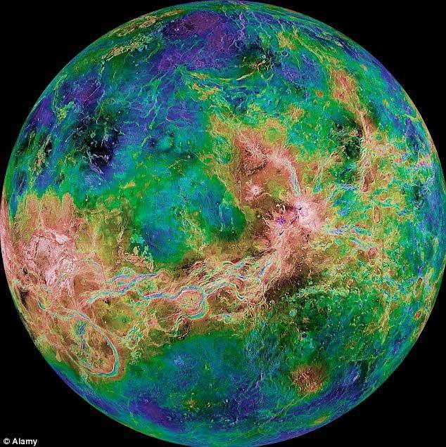 Một bức ảnh bề mặt Kim tinh tổng hợp từ nhiều radar của NASA.