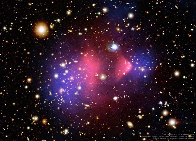 Cụm thiên hà Bullet tạo ra hiệu ứng thấu kính hấp dẫn.