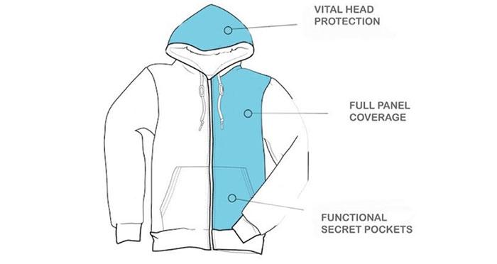 Thiết kế của áo Wonder Hoodie giúp bảo vệ thêm phần đầu trước những vụ nổ súng.