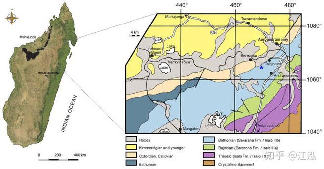 Vị trí của hóa thạch được tìm thấy.