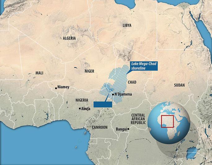 """Vị trí của hồ Chad và """"bóng ma"""" hồ Mega Chad ở châu Phi"""