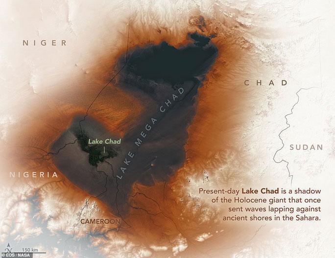 """Hồ nước """"ma"""" Mega Chad rộng hơn cả biển Caspi được đồ họa dựa theo ảnh vệ tinh"""