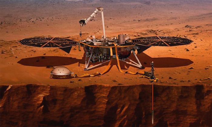 Tàu InSight hoạt động trên bề mặt hành tinh đỏ.