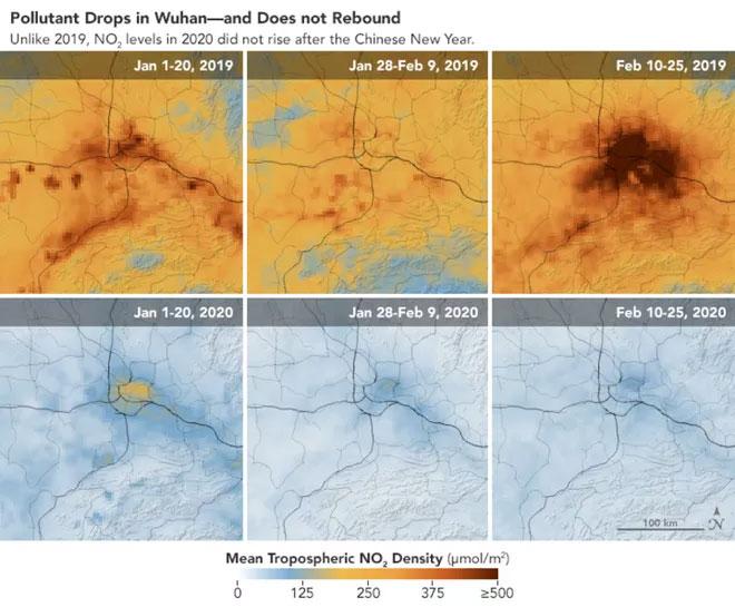 Hình ảnh vệ tinh cho thấy sự khác biệt rõ rệt từ khoảng đầu tháng 1, cho đến cuối tháng 2 vừa qua.