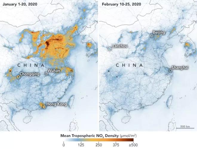 Sự sụt giảm đáng kể của lượng khí thải nhà kính Nitơ điôxít (NO2) tại Trung Quốc.