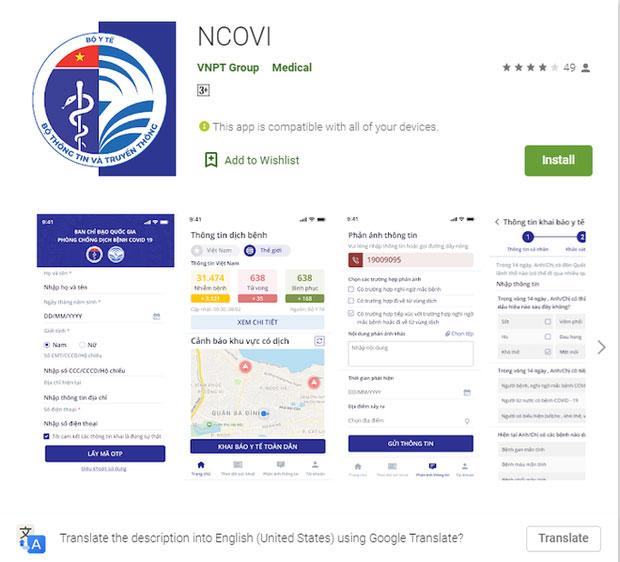 Ứng dụng NCOVI hỗ trợ hệ điều hành Android và iOS