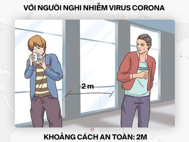 Khoảng cách an toàn với người nghi nhiễm virus corona