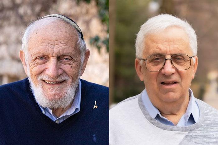 Hillel Furstenberg (trái) and Gregory Margulis nhận Giải thưởng Abel năm 2020.