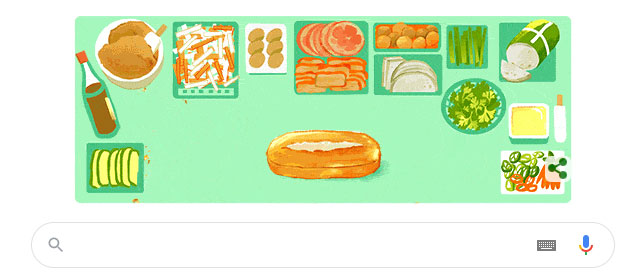 Google Doodle tôn vinh bánh mì Việt Nam.