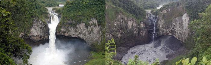 Ảnh chụp năm 2012 và năm 2020, sau khi thác nước biến mất.