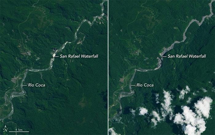 Vệ tinh chụp sông Coca và thác San Rafael ngày 4/8/2014 (trái) và ngày 15/3/2020 (phải).