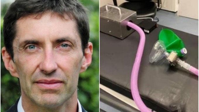 Bác sĩ Rhys Thomas và chiếc máy thở do ông sáng chế