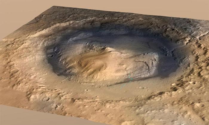 Miệng núi lửa Gale trên sao Hỏa.