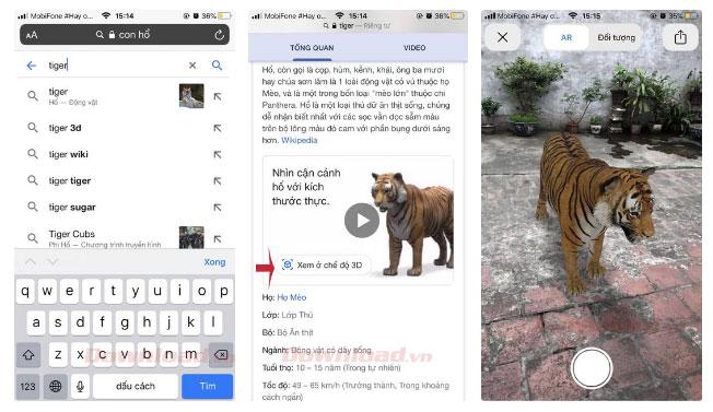 Cách xem hình 3D con vật sư tử, mèo, chó, ngựa, cá mập... trên Google