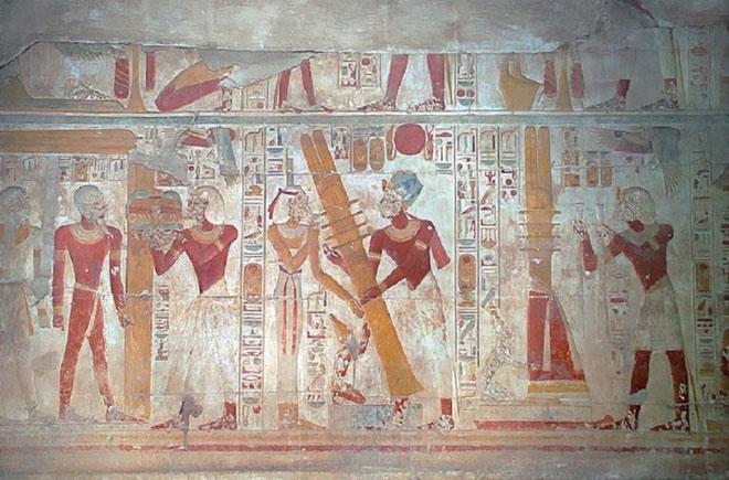 Bức vẽ trên tường về nghi lễ Djed của người Ai Cập thời cổ đại.