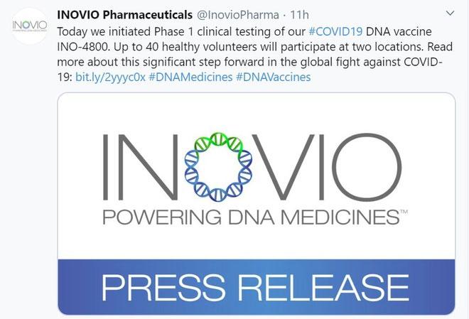 Việc công bố thử nghiệm vaccine INO-4800 ngay lập tức khiến cổ phiếu của Inovio tăng giá mạnh.