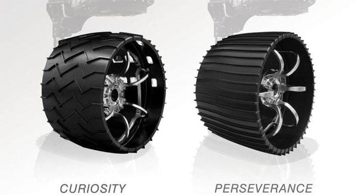 Bánh xe Perseverance với những thiết kế cải tiến so với Curiosity