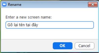 Nhập tên mới vào Cách để học trực tuyến trên Zoom hiệu quả.