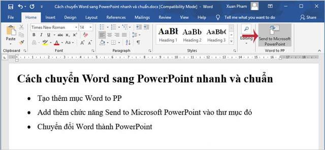 Nhấn biểu tượng Send to Microsoft PowerPoint