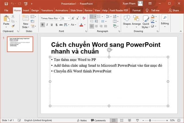 Chuyển đổi thành PowerPoint