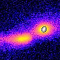 Lần đầu tiên ghi lại hình ảnh tia vật chất phun ra từ 2 thiên hà va chạm