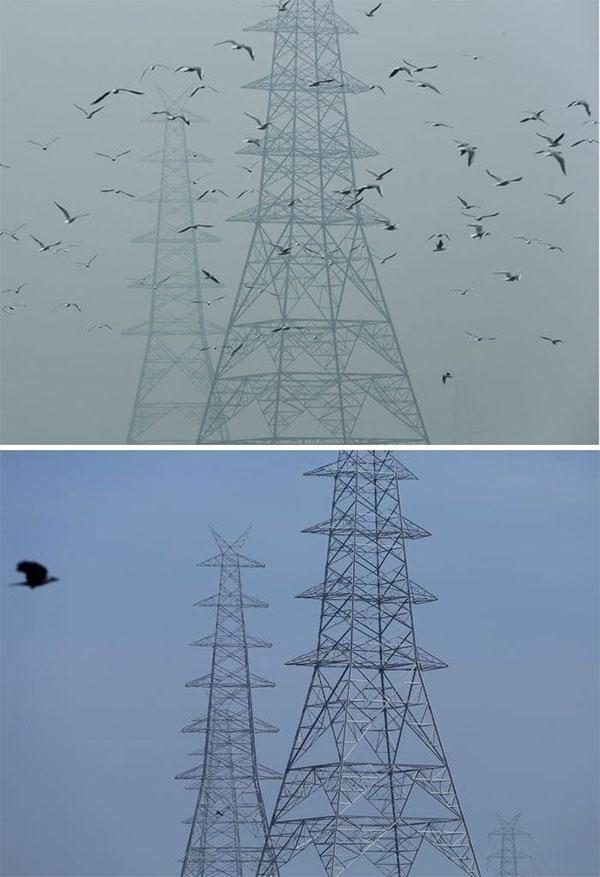 Hình ảnh các trụ điện ở New Delhi, Ấn Độ, được chụp vào ngày 30/10/2019 (trên) và ngày 13/4/2020 (dưới)