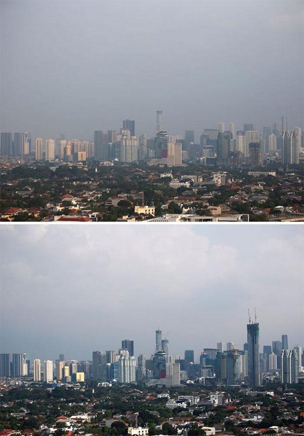 Bức ảnh chụp đường chân trời Jakarta vào ngày 4/7/2019 (trên) và ngày 16/4/2020 (dưới).