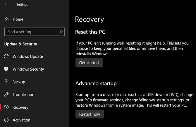 1. Khôi phục cài đặt gốc trên Windows 10 bằng tính năng mặc định