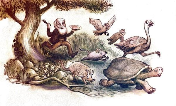 Tranh vui mô tả sở thích ăn mẫu vật nghiên cứu của Darwin.