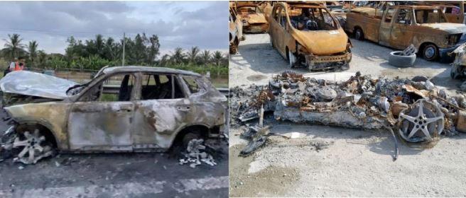 Xe Ferrari và 1 xe hơi nhãn hiệu của Việt Nam gặp tình trạng bốc cháy tan cả vành