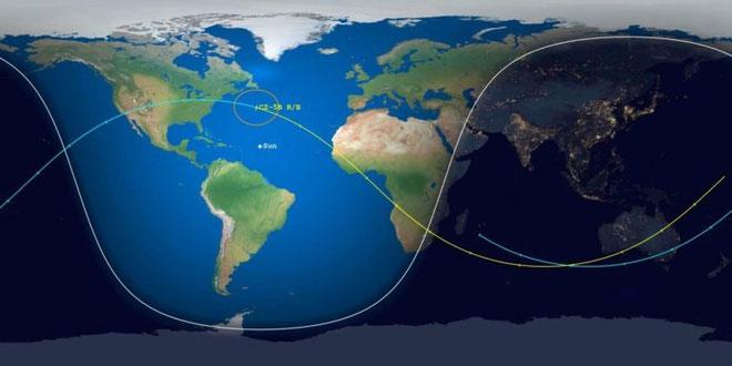 Mô phỏng đường đi của tên lửa Trường Chinh 5B trên đoạn cuối quỹ đạo hôm 11/5.
