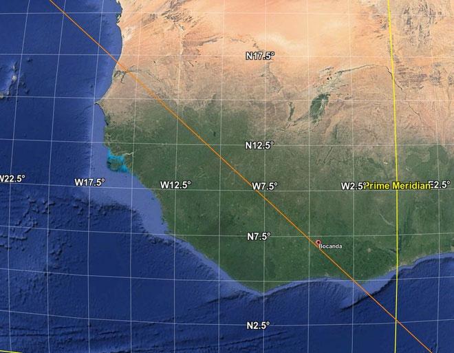 Mảnh vỡ được phát hiện gần thị trấn Bocanda, một điểm nằm trên quỹ đạo dự kiến.
