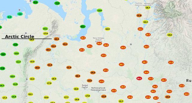 Các điểm nóng nhiệt độ vùng Tây Siberia.