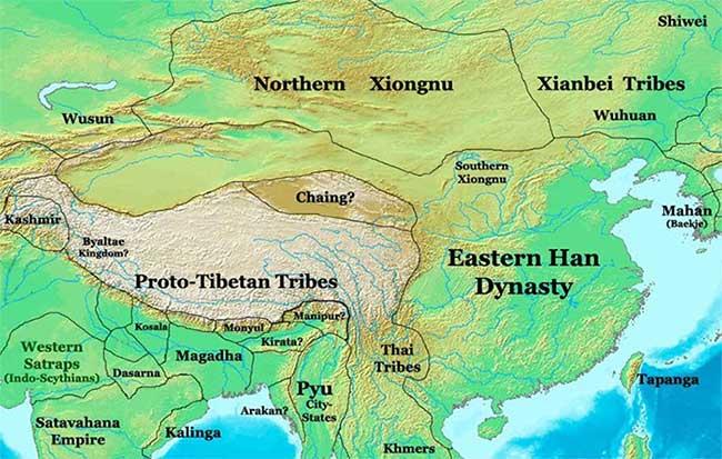 Bản đồ lãnh thổ Bắc và Nam Hung Nô sau khi bị nhà Hán chia cắt.