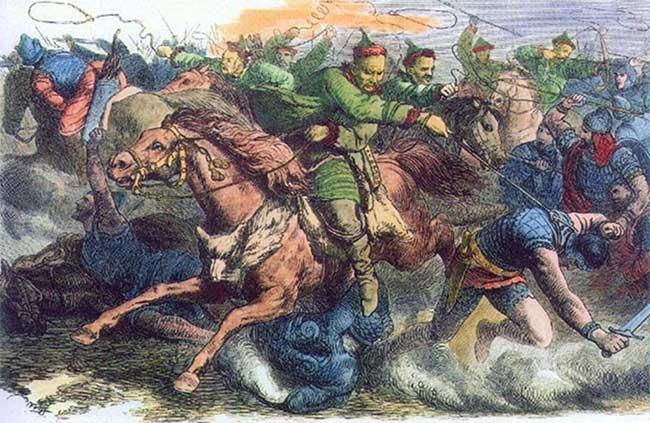Người Hung Nô đã nhiều lần gây chiến với Ba Tư cùng các vương quốc phía bắc Ấn Độ tại Trung Á.