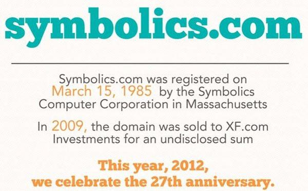 Ngày 15/3/1985, Symbolics.com - tên miền đầu tiên trên Internet được đăng ký.