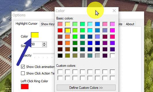 Để thay đổi màu highlight, nhấp vào hộp màu bên cạnh tùy chọn Color.