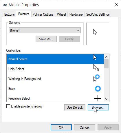 Chọn tùy chọn Normal Select và nhấp vào nút Browse