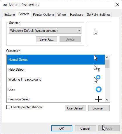 Chọn tùy chọn Windows Default (system scheme) để về con trỏ mặc định