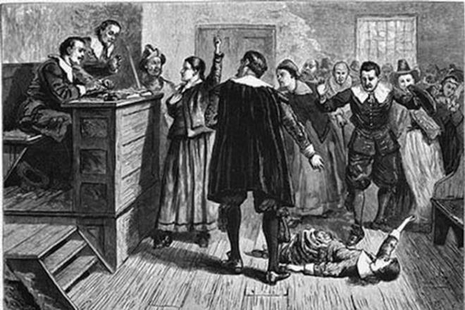Hình ảnh vụ xét xử Salem ở Mỹ cuối thế kỷ XVII.