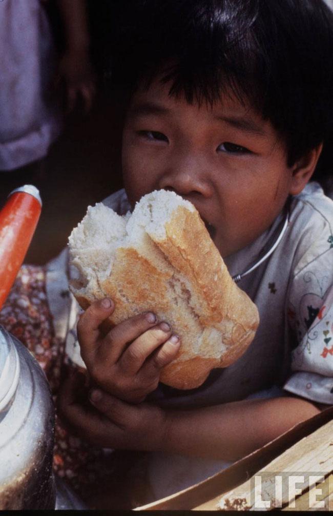 Chú bé gặm chiếc bánh mì to oành, Sài Gòn 1968