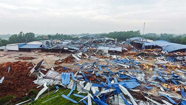 Hiện trường xưởng gỗ bị lốc cuốn khiến 3 người chết.