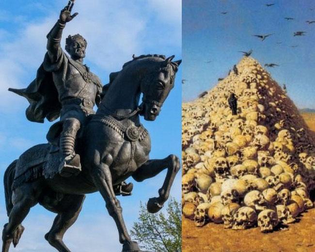 Timur cho người chặt đầu toàn bộ những người trên và xếp đầu của phản tặc thành tháp sọ người