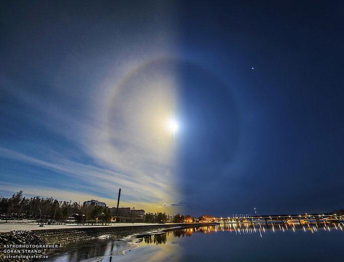 Vào ngày 1-4-2015, cả hào quang mặt trời và mặt trăng cùng xuất hiện ở Östersund, Thụy Điển