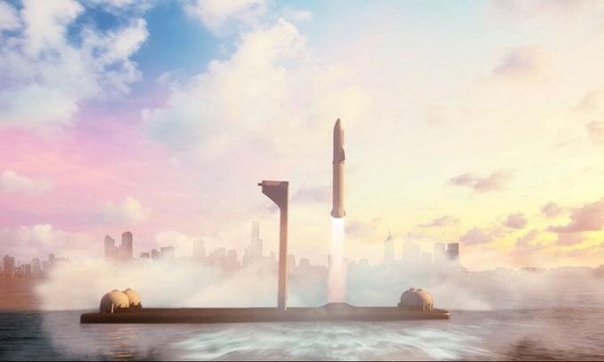 Mô phỏng Starship cất cánh từ bệ phóng ngoài khơi.