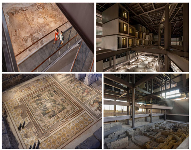 Dấu vết của nhiều công trình xây dựng cổ bên trong bảo tàng.