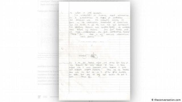 """""""Các con số đã trở thành nhiệm vụ của tôi"""" – Christopher viết trong lá thư gửi cho nhà xuất bản toán học."""