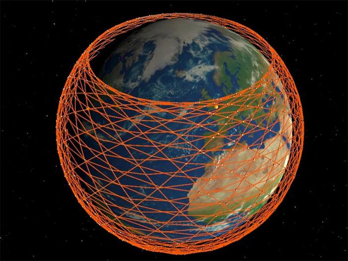 Ảnh mô phỏng mạng lưới vệ tinh của Starlink bao phủ gần như toàn bộ Trái đất.